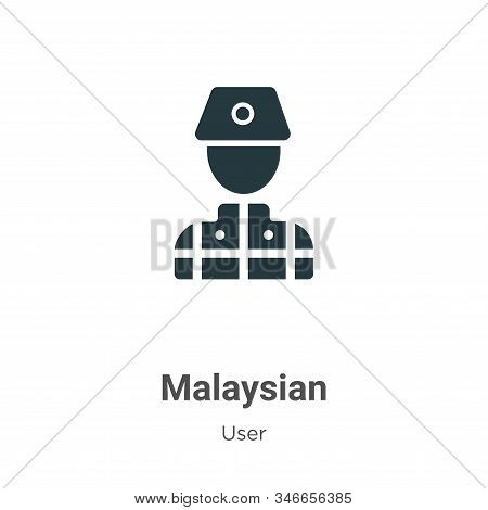 Malaysian Glyph Icon Vector On White Background. Flat Vector Malaysian Icon Symbol Sign From Modern