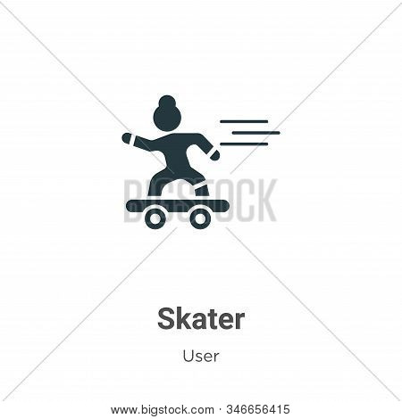 Skater Glyph Icon Vector On White Background. Flat Vector Skater Icon Symbol Sign From Modern User C