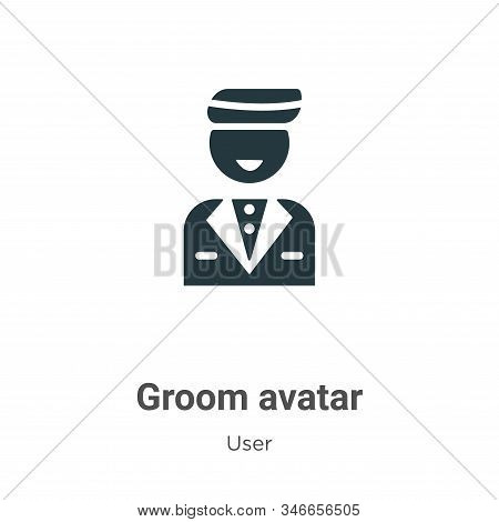 Groom Avatar Glyph Icon Vector On White Background. Flat Vector Groom Avatar Icon Symbol Sign From M