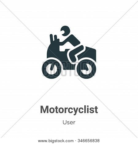 Motorcyclist icon isolated on white background from user collection. Motorcyclist icon trendy and mo