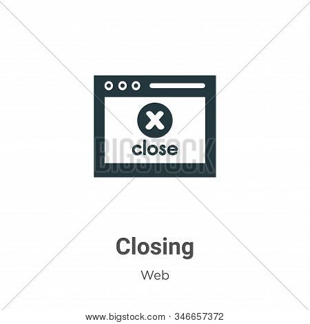 Closing Glyph Icon Vector On White Background. Flat Vector Closing Icon Symbol Sign From Modern Web