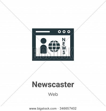 Newscaster Glyph Icon Vector On White Background. Flat Vector Newscaster Icon Symbol Sign From Moder