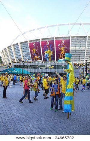 Soccer Fans Go To The Olympic Stadium (nsc Olimpiysky) in Kyiv