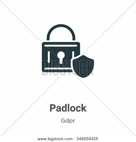 Padlock Glyph Icon Vector On White Background. Flat Vector Padlock Icon Symbol Sign From Modern Gdpr