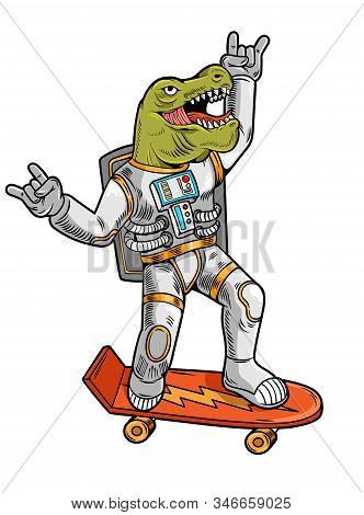 Engraving Draw Funny Cool Dude Astronaut T Rex Tyrannosaurus Ride On Skateboard In Space Suit. Vinta