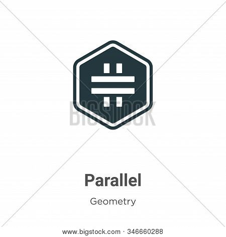 Parallel Glyph Icon Vector On White Background. Flat Vector Parallel Icon Symbol Sign From Modern Ge