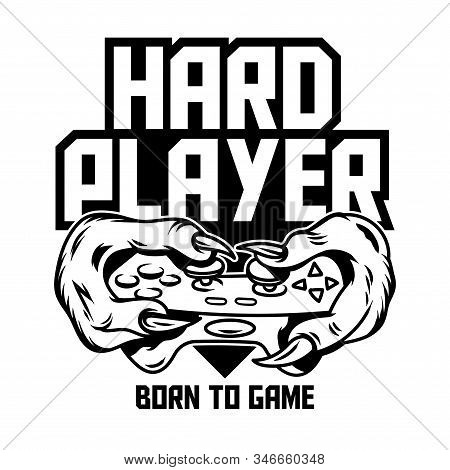 Hard Player Gamer Hands Of Green Monster Dinosaur T-rex Which Keep Gamepad Joystick Controller And P