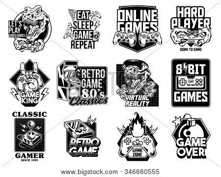 Game Design Logo Set Collection Of Video Game Geek Culture Gamer Elements Bundle. Vector Illustratio