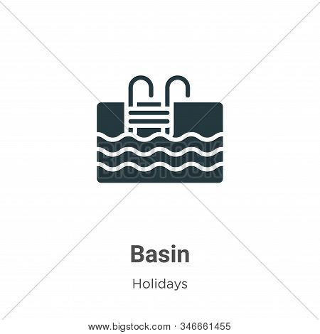 Basin Glyph Icon Vector On White Background. Flat Vector Basin Icon Symbol Sign From Modern Holidays