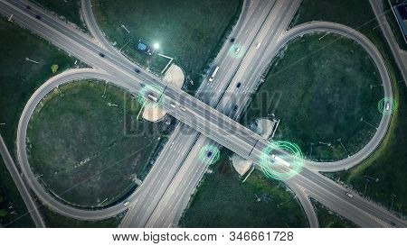 Gps Navigation And Autonomous Driverless Transportation Concept. Aerial View Of Transport Junction W