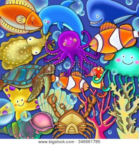 Digitally Created Colorful Cartoon Underwater Sealife Swimming The Oceans.