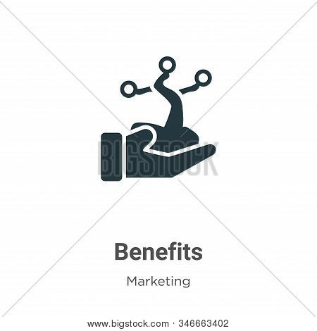 Benefits Glyph Icon Vector On White Background. Flat Vector Benefits Icon Symbol Sign From Modern Ma
