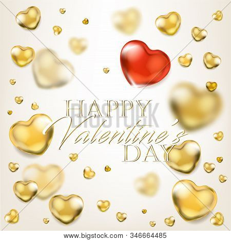 Elegance Ligh Greeting Card With Shiny Golden Hearts