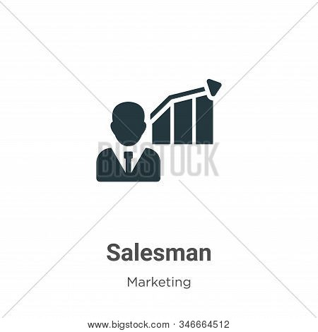 Salesman Glyph Icon Vector On White Background. Flat Vector Salesman Icon Symbol Sign From Modern Ma