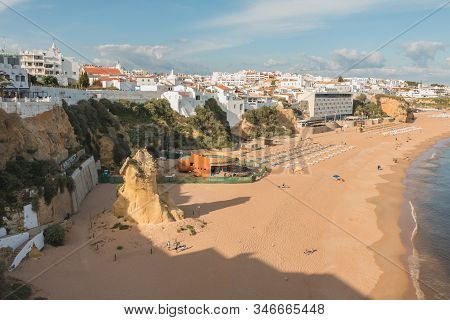 High View Of The City Beaches In Albufeira, Portugal