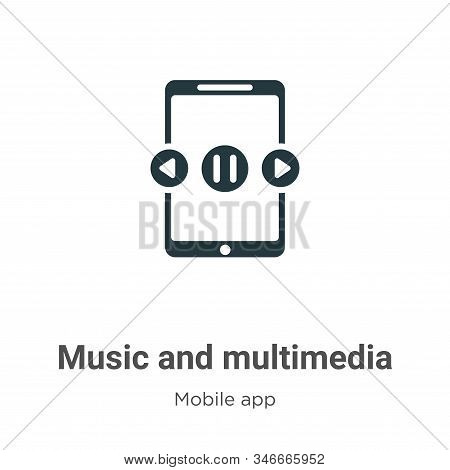 Music and multimedia icon isolated on white background from mobile app collection. Music and multime