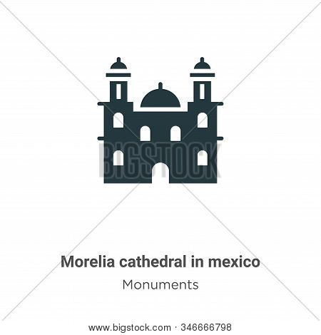 Morelia cathedral in mexico icon isolated on white background from monuments collection. Morelia cat