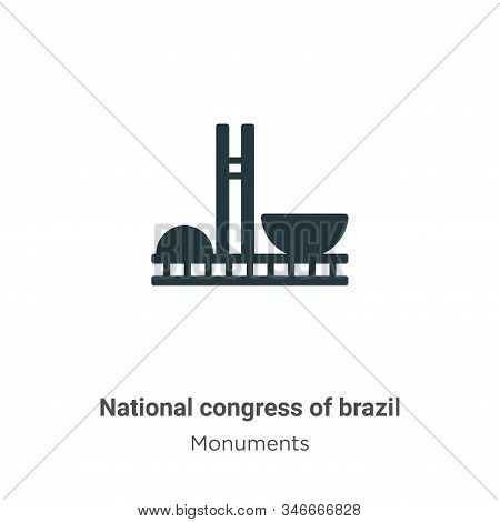 National congress of brazil icon isolated on white background from monuments collection. National co