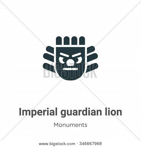 Imperial Guardian Lion Glyph Icon Vector On White Background. Flat Vector Imperial Guardian Lion Ico