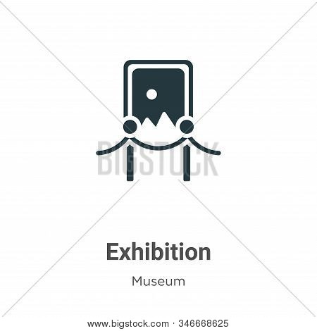 Exhibition Glyph Icon Vector On White Background. Flat Vector Exhibition Icon Symbol Sign From Moder