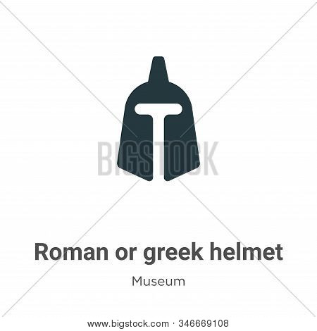 Roman or greek helmet icon isolated on white background from museum collection. Roman or greek helme