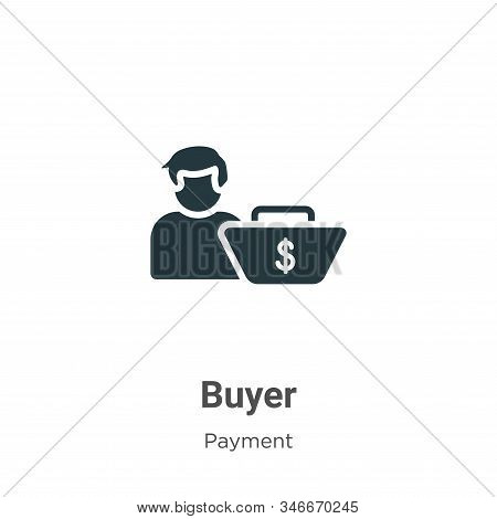 Buyer Glyph Icon Vector On White Background. Flat Vector Buyer Icon Symbol Sign From Modern Payment