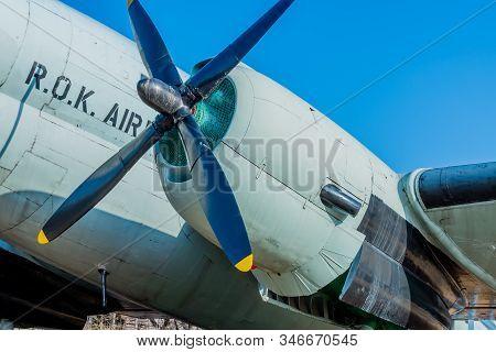Seoul, South Korea; January 10, 2020: Closeup Of Engine Cowling And Propeller Of C-46 Commando Trans