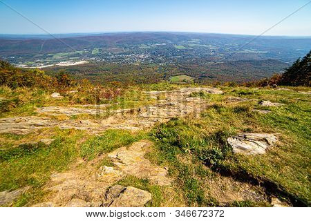 Grassy View From The Summit Of Mount Greylock In Adams, Massachusetts, Usa