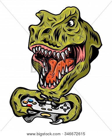 T Rex Dinosaur Gamer Angry Head Which Play Game On Joystick For Video Game Arcade. Custom Design Vec