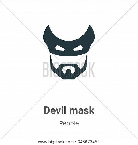Devil Mask Glyph Icon Vector On White Background. Flat Vector Devil Mask Icon Symbol Sign From Moder