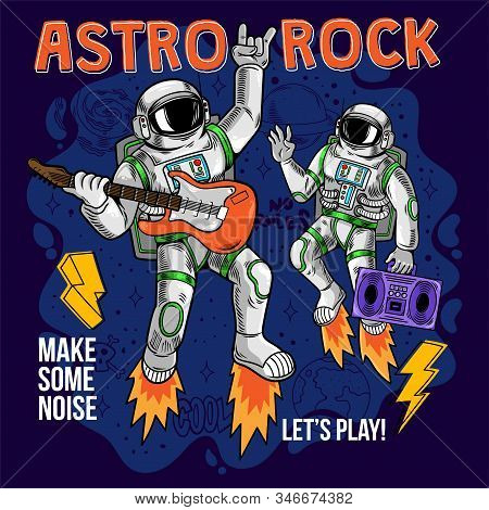 Engraving Two Cool Dude Astronauts Spaceman Play Astro Rock On Electric Guitar Between Stars Planets