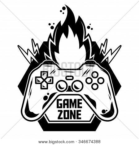 Game Design Icon Logo Of Gamepad For Play Arcade Video Game For Gamer Modern Vector Illustration Wit