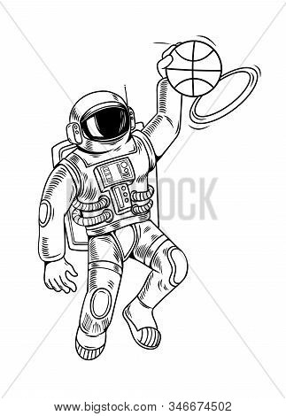 Engraving Draw With Astronaut Spaceman Which Play Basketball And Make Slam Dunk. Vintage Cartoon Cha