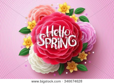 Spring Flowers Vector Design. Hello Spring Text Above Colorful Camellia And Crocus Flowers In Pink S