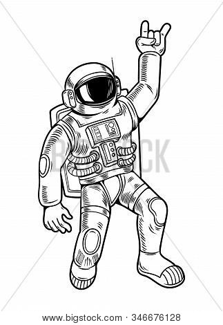 Engraving Draw With Funny Cool Dude Astronaut Spaceman In Space Suit. Vintage Cartoon Character Illu