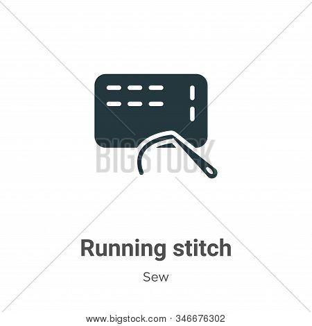 Running Stitch Glyph Icon Vector On White Background. Flat Vector Running Stitch Icon Symbol Sign Fr