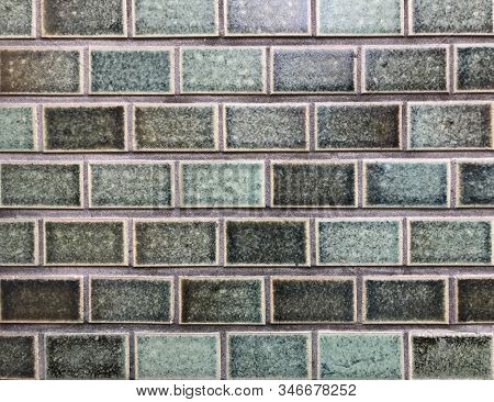 Green Ceramic Tile Wall For Background And Texture