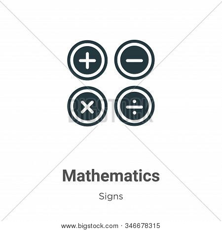 Mathematics icon isolated on white background from signs collection. Mathematics icon trendy and mod