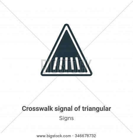 Crosswalk Signal Of Triangular Glyph Icon Vector On White Background. Flat Vector Crosswalk Signal O