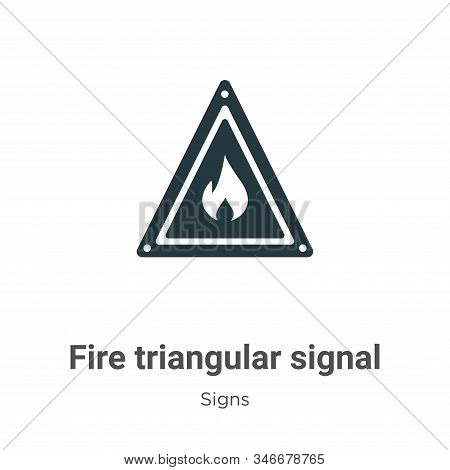 Fire Triangular Signal Glyph Icon Vector On White Background. Flat Vector Fire Triangular Signal Ico