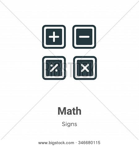 Math icon isolated on white background from signs collection. Math icon trendy and modern Math symbo