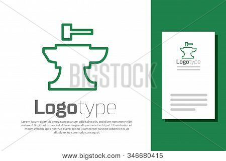 Green Line Anvil For Blacksmithing And Hammer Icon Isolated On White Background. Metal Forging. Forg