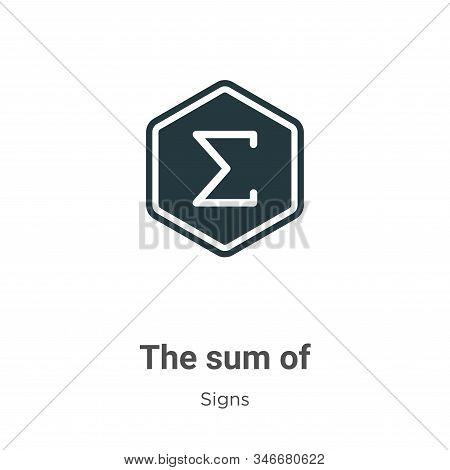 The Sum Of Symbol Glyph Icon Vector On White Background. Flat Vector The Sum Of Symbol Icon Symbol S