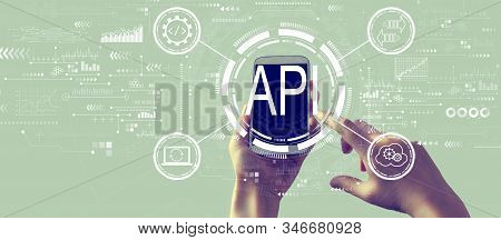 Api - Application Programming Interface Concept Api Concept With Person Holding A White Smartphone