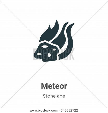 Meteor Glyph Icon Vector On White Background. Flat Vector Meteor Icon Symbol Sign From Modern Stone