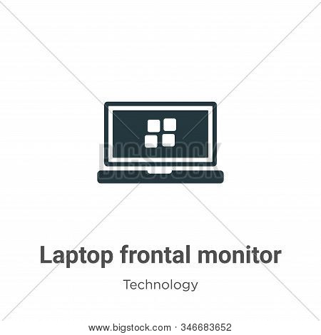 Laptop frontal monitor icon isolated on white background from technology collection. Laptop frontal