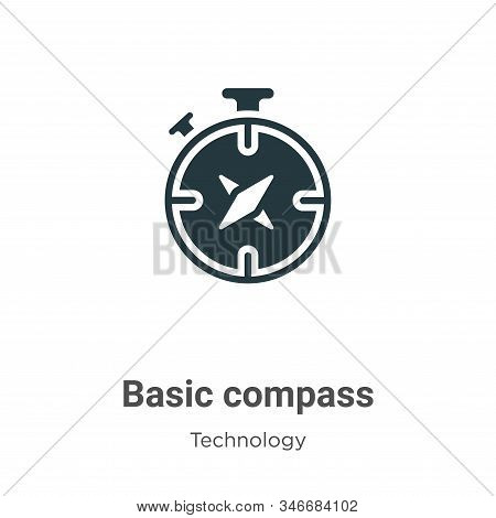 Basic Compass Glyph Icon Vector On White Background. Flat Vector Basic Compass Icon Symbol Sign From