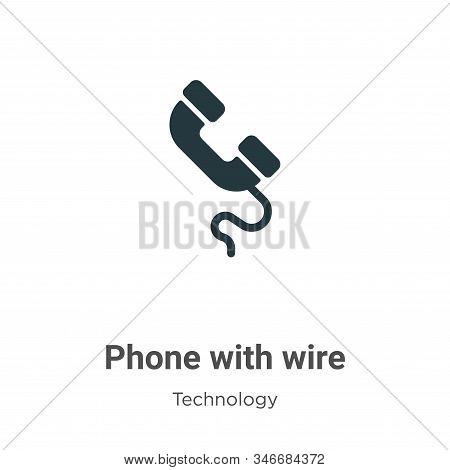 Phone with wire icon isolated on white background from technology collection. Phone with wire icon t