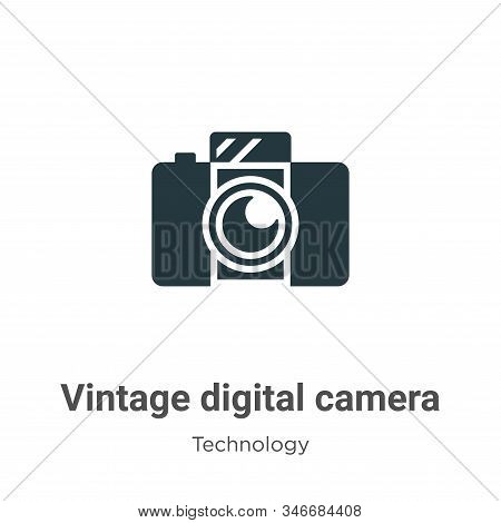 Vintage digital camera icon isolated on white background from technology collection. Vintage digital