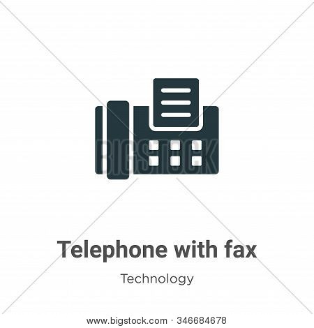 Telephone with fax icon isolated on white background from technology collection. Telephone with fax